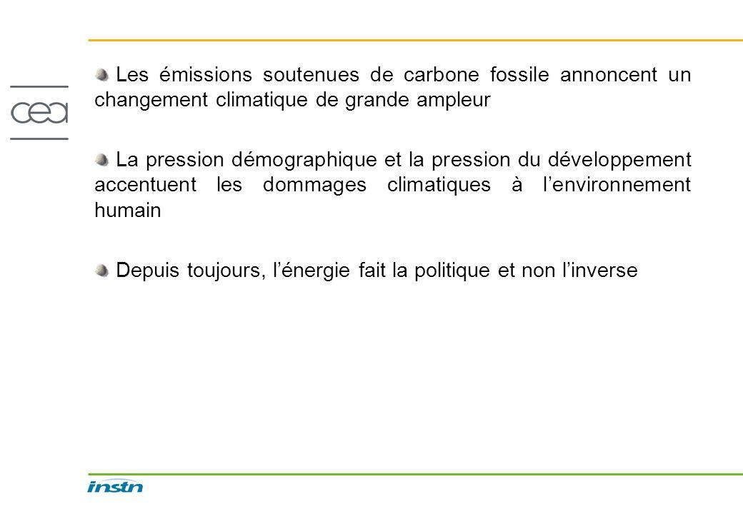 Les émissions soutenues de carbone fossile annoncent un changement climatique de grande ampleur La pression démographique et la pression du développem