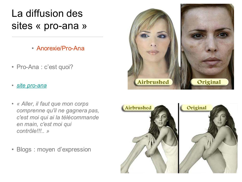 La diffusion des sites « pro-ana » Anorexie/Pro-Ana Pro-Ana : cest quoi? site pro-ana « Aller, il faut que mon corps comprenne qu'il ne gagnera pas, c