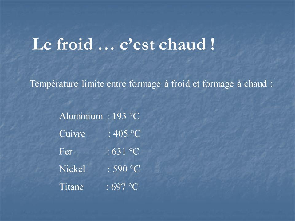 Le froid … cest chaud ! Température limite entre formage à froid et formage à chaud : Aluminium : 193 °C Cuivre : 405 °C Fer : 631 °C Nickel : 590 °C