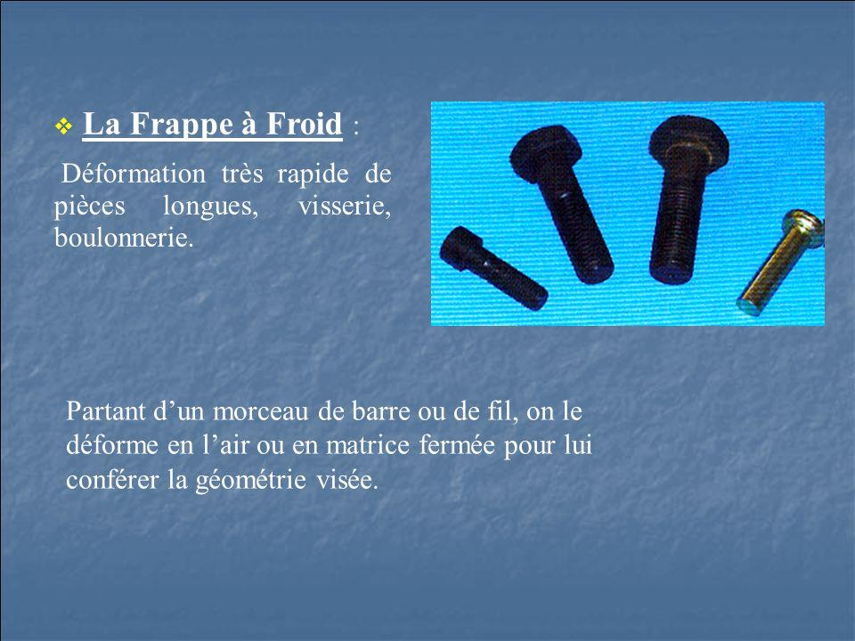 La Frappe à Froid : Déformation très rapide de pièces longues, visserie, boulonnerie. Partant dun morceau de barre ou de fil, on le déforme en lair ou