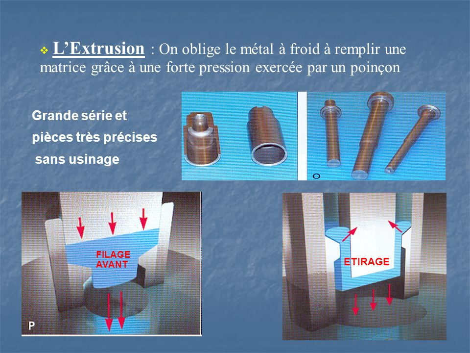 LExtrusion : On oblige le métal à froid à remplir une matrice grâce à une forte pression exercée par un poinçon Grande série et pièces très précises s