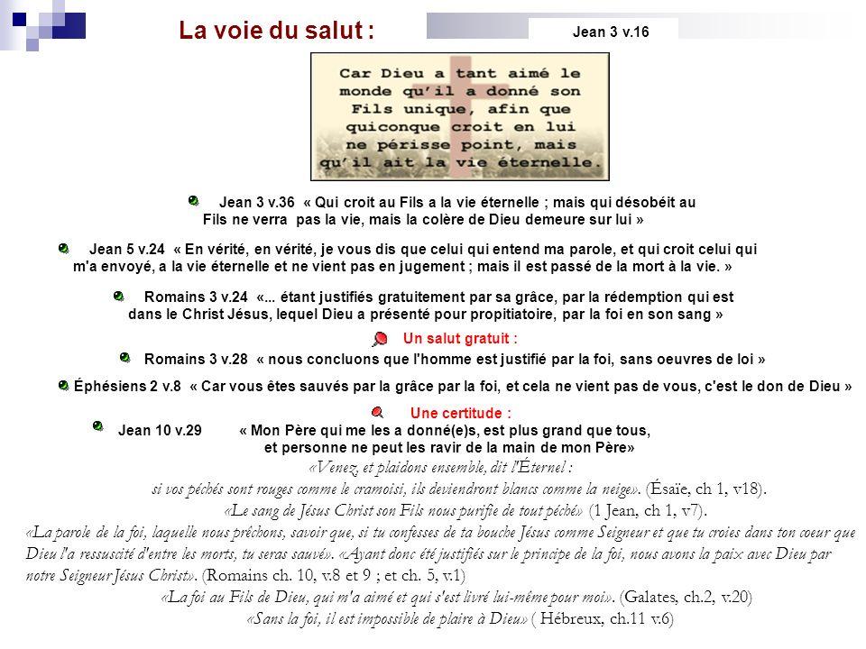 La voie du salut : Jean 3 v.16 Jean 3 v.36 « Qui croit au Fils a la vie éternelle ; mais qui désobéit au Fils ne verra pas la vie, mais la colère de D