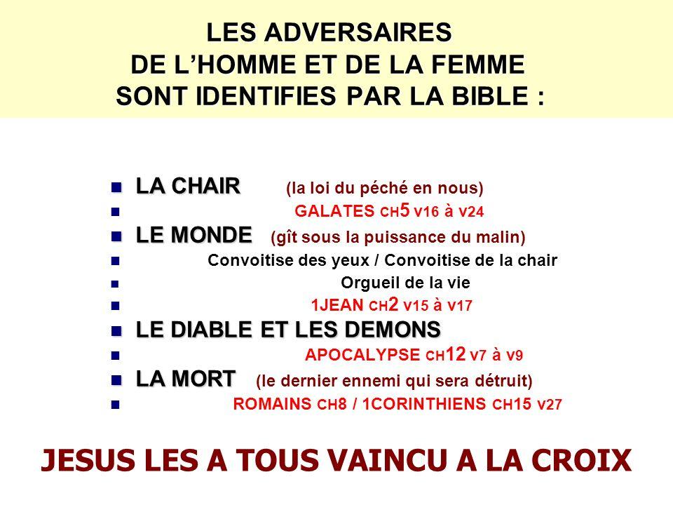 LES ADVERSAIRES DE LHOMME ET DE LA FEMME SONT IDENTIFIES PAR LA BIBLE : LA CHAIR LA CHAIR (la loi du péché en nous) GALATES CH 5 v 16 à v 24 LE MONDE