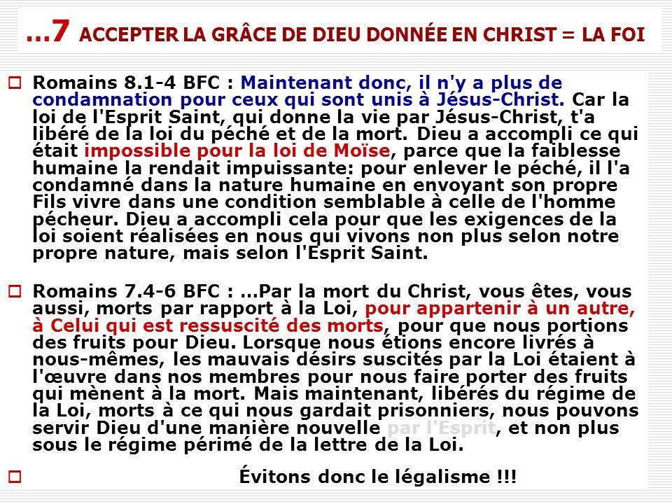 Romains 8.1-4 BFC : Maintenant donc, il n'y a plus de condamnation pour ceux qui sont unis à Jésus-Christ. Car la loi de l'Esprit Saint, qui donne la