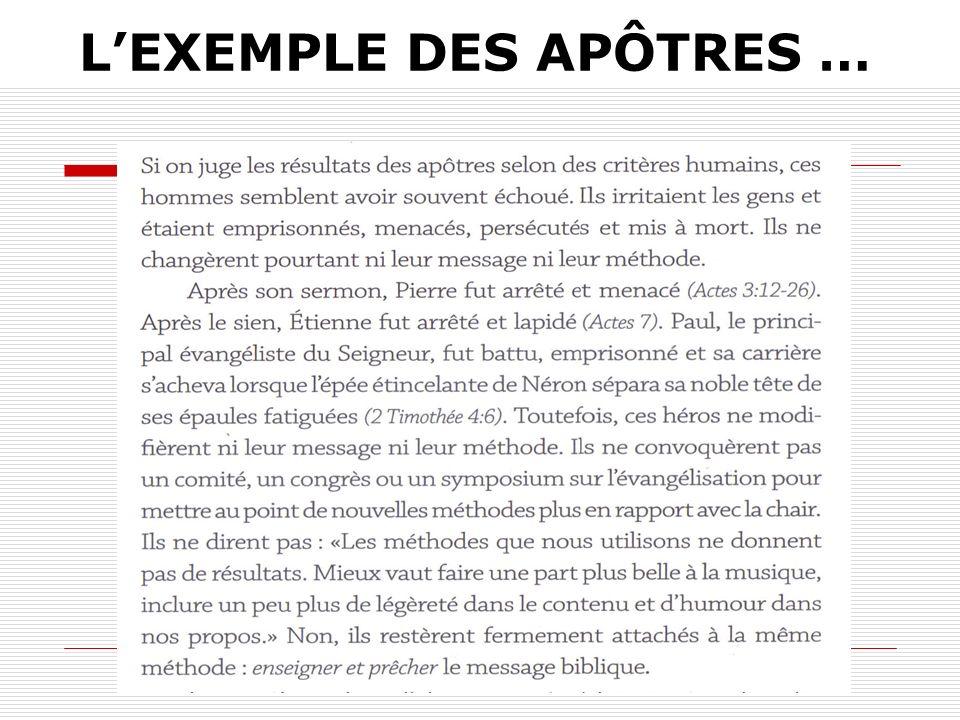 LEXEMPLE DES APÔTRES …