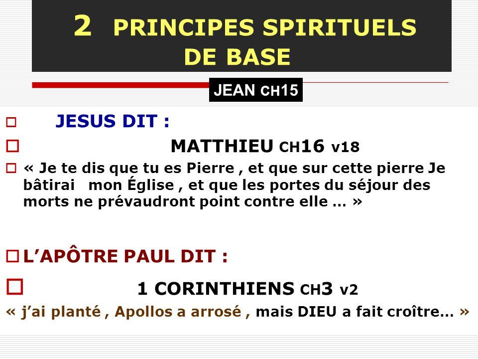 2 PRINCIPES SPIRITUELS DE BASE JESUS DIT : MATTHIEU CH 16 v18 « Je te dis que tu es Pierre, et que sur cette pierre Je bâtirai mon Église, et que les