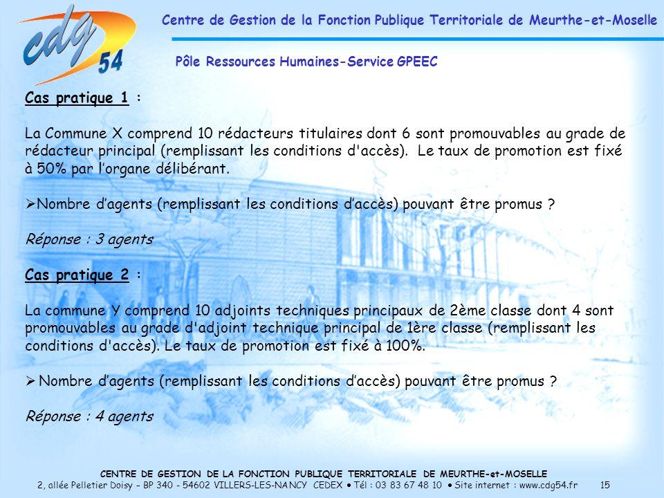 CENTRE DE GESTION DE LA FONCTION PUBLIQUE TERRITORIALE DE MEURTHE-et-MOSELLE 2, allée Pelletier Doisy – BP 340 - 54602 VILLERS-LES-NANCY CEDEX Tél : 03 83 67 48 10 Site internet : www.cdg54.fr 15 Cas pratique 1 : La Commune X comprend 10 rédacteurs titulaires dont 6 sont promouvables au grade de rédacteur principal (remplissant les conditions d accès).