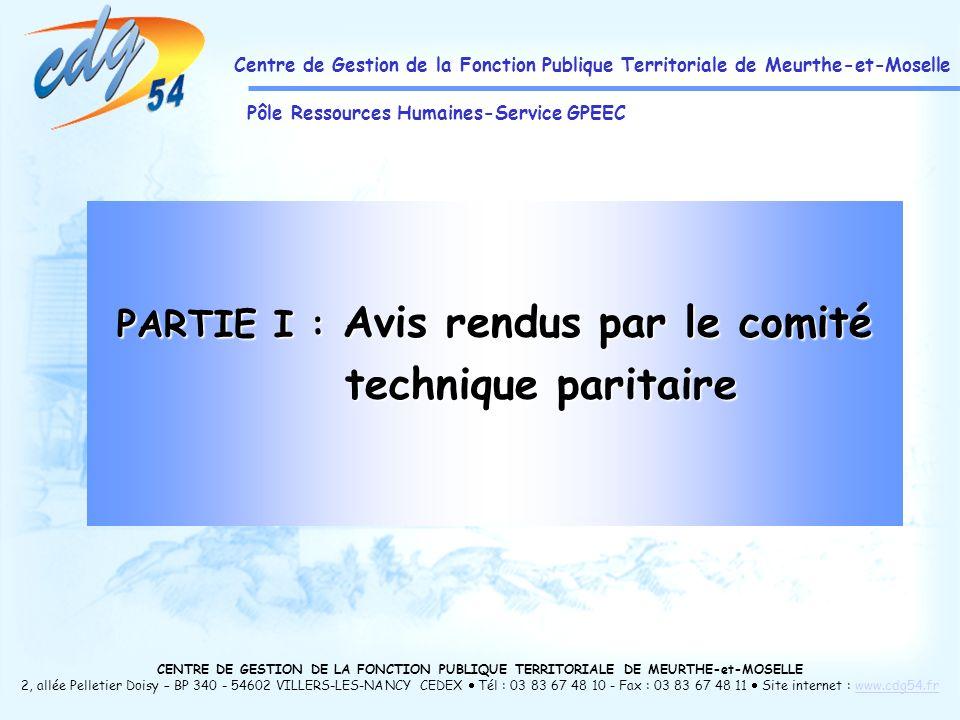 CENTRE DE GESTION DE LA FONCTION PUBLIQUE TERRITORIALE DE MEURTHE-et-MOSELLE 2, allée Pelletier Doisy – BP 340 - 54602 VILLERS-LES-NANCY CEDEX Tél : 03 83 67 48 10 - Fax : 03 83 67 48 11 Site internet : www.cdg54.frwww.cdg54.fr Centre de Gestion de la Fonction Publique Territoriale de Meurthe-et-Moselle Pôle Ressources Humaines-Service GPEEC PARTIE I : Avis rendus par le comité technique paritaire technique paritaire