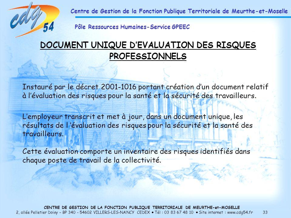 CENTRE DE GESTION DE LA FONCTION PUBLIQUE TERRITORIALE DE MEURTHE-et-MOSELLE 2, allée Pelletier Doisy – BP 340 - 54602 VILLERS-LES-NANCY CEDEX Tél : 03 83 67 48 10 Site internet : www.cdg54.fr 33 DOCUMENT UNIQUE DEVALUATION DES RISQUES PROFESSIONNELS Instauré par le décret 2001-1016 portant création dun document relatif à lévaluation des risques pour la santé et la sécurité des travailleurs.