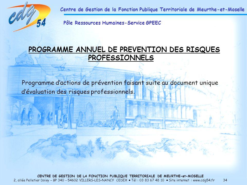 CENTRE DE GESTION DE LA FONCTION PUBLIQUE TERRITORIALE DE MEURTHE-et-MOSELLE 2, allée Pelletier Doisy – BP 340 - 54602 VILLERS-LES-NANCY CEDEX Tél : 03 83 67 48 10 Site internet : www.cdg54.fr 34 PROGRAMME ANNUEL DE PREVENTION DES RISQUES PROFESSIONNELS Programme dactions de prévention faisant suite au document unique dévaluation des risques professionnels.