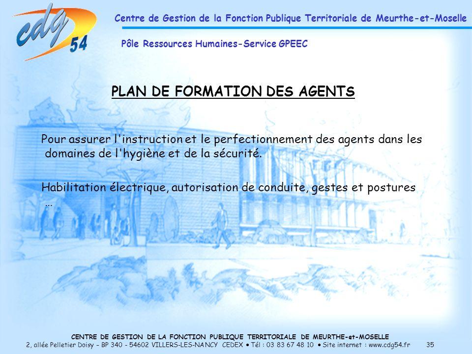 CENTRE DE GESTION DE LA FONCTION PUBLIQUE TERRITORIALE DE MEURTHE-et-MOSELLE 2, allée Pelletier Doisy – BP 340 - 54602 VILLERS-LES-NANCY CEDEX Tél : 03 83 67 48 10 Site internet : www.cdg54.fr 35 PLAN DE FORMATION DES AGENTS Pour assurer l instruction et le perfectionnement des agents dans les domaines de l hygiène et de la sécurité.