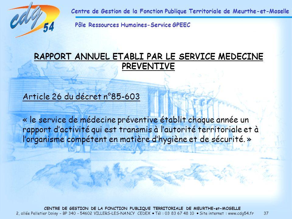 CENTRE DE GESTION DE LA FONCTION PUBLIQUE TERRITORIALE DE MEURTHE-et-MOSELLE 2, allée Pelletier Doisy – BP 340 - 54602 VILLERS-LES-NANCY CEDEX Tél : 03 83 67 48 10 Site internet : www.cdg54.fr 37 RAPPORT ANNUEL ETABLI PAR LE SERVICE MEDECINE PREVENTIVE Article 26 du décret n°85-603 « le service de médecine préventive établit chaque année un rapport dactivité qui est transmis à lautorité territoriale et à lorganisme compétent en matière dhygiène et de sécurité.