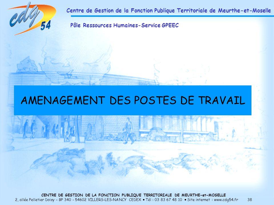 CENTRE DE GESTION DE LA FONCTION PUBLIQUE TERRITORIALE DE MEURTHE-et-MOSELLE 2, allée Pelletier Doisy – BP 340 - 54602 VILLERS-LES-NANCY CEDEX Tél : 03 83 67 48 10 Site internet : www.cdg54.fr 38 AMENAGEMENT DES POSTES DE TRAVAIL Centre de Gestion de la Fonction Publique Territoriale de Meurthe-et-Moselle Pôle Ressources Humaines-Service GPEEC