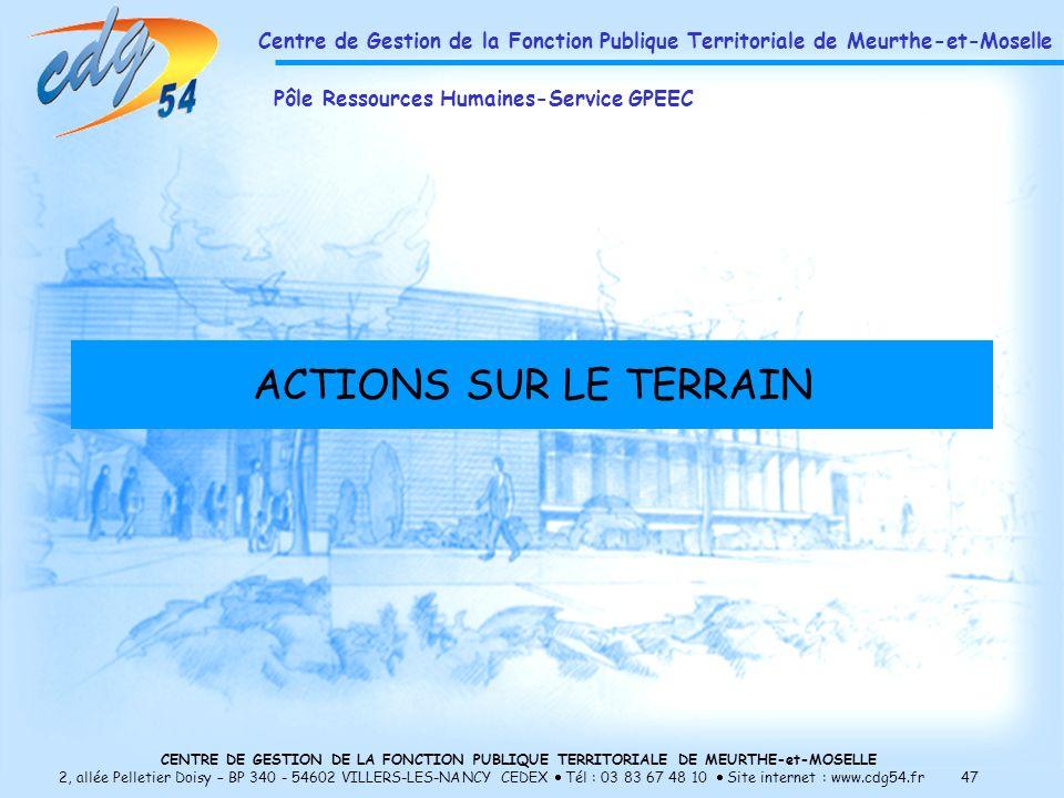 CENTRE DE GESTION DE LA FONCTION PUBLIQUE TERRITORIALE DE MEURTHE-et-MOSELLE 2, allée Pelletier Doisy – BP 340 - 54602 VILLERS-LES-NANCY CEDEX Tél : 03 83 67 48 10 Site internet : www.cdg54.fr 47 ACTIONS SUR LE TERRAIN Centre de Gestion de la Fonction Publique Territoriale de Meurthe-et-Moselle Pôle Ressources Humaines-Service GPEEC