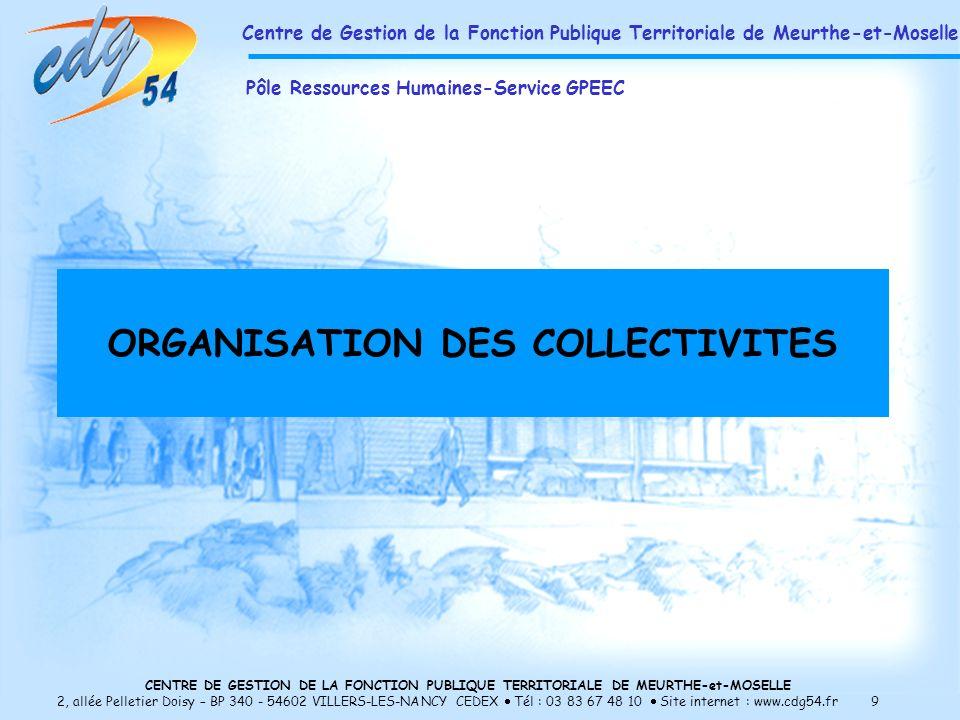 CENTRE DE GESTION DE LA FONCTION PUBLIQUE TERRITORIALE DE MEURTHE-et-MOSELLE 2, allée Pelletier Doisy – BP 340 - 54602 VILLERS-LES-NANCY CEDEX Tél : 03 83 67 48 10 Site internet : www.cdg54.fr 9 ORGANISATION DES COLLECTIVITES Centre de Gestion de la Fonction Publique Territoriale de Meurthe-et-Moselle Pôle Ressources Humaines-Service GPEEC