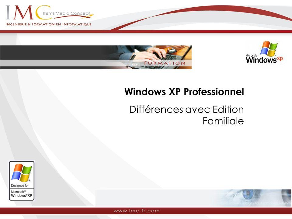Windows XP Professionnel Différences avec Edition Familiale