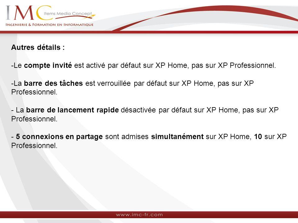 Autres détails : -Le compte invité est activé par défaut sur XP Home, pas sur XP Professionnel. -La barre des tâches est verrouillée par défaut sur XP
