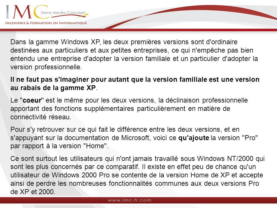 Dans la gamme Windows XP, les deux premières versions sont d ordinaire destinées aux particuliers et aux petites entreprises, ce qui n empêche pas bien entendu une entreprise d adopter la version familiale et un particulier d adopter la version professionnelle.