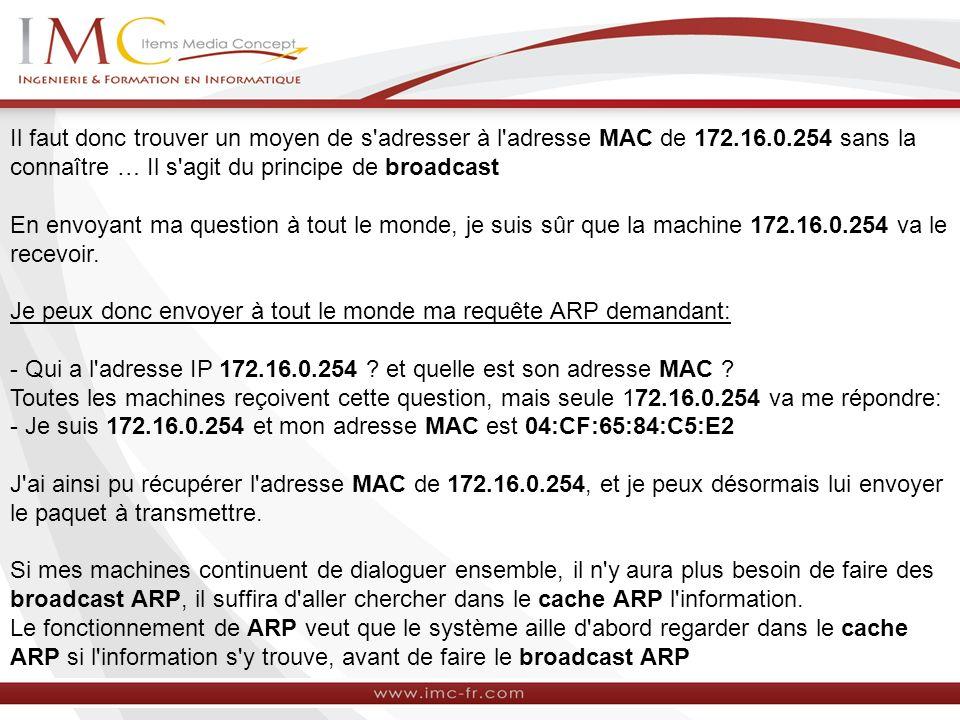 Il faut donc trouver un moyen de s'adresser à l'adresse MAC de 172.16.0.254 sans la connaître … Il s'agit du principe de broadcast En envoyant ma ques