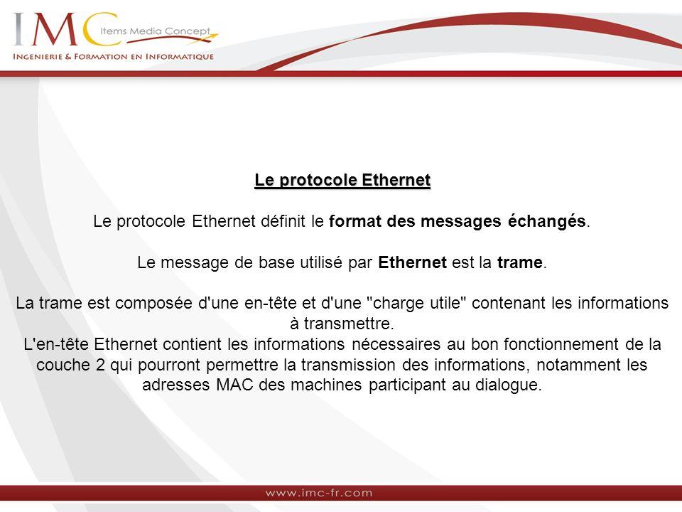 Le protocole Ethernet Le protocole Ethernet définit le format des messages échangés. Le message de base utilisé par Ethernet est la trame. La trame es