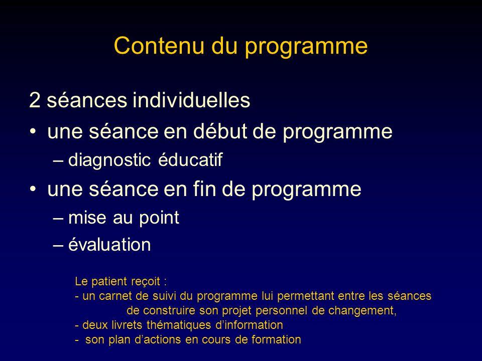 Contenu du programme 2 séances individuelles une séance en début de programme –diagnostic éducatif une séance en fin de programme –mise au point –éval