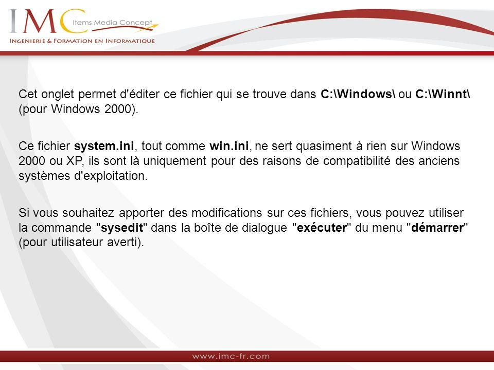 L onglet « WIN.INI » L onglet WIN.INI permet de définir les paramètres relatifs à l utilisateur (choix de la langue, de couleur, papier peint, etc..) : Il permet d éditer ce fichier qui se trouve dans C:\Windows\ ou C:\Winnt\ (pour Windows 2000).