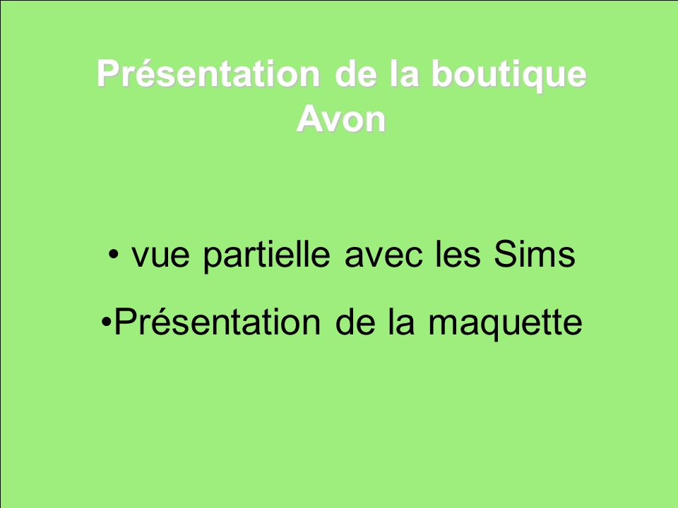Présentation de la boutique Avon vue partielle avec les Sims Présentation de la maquette