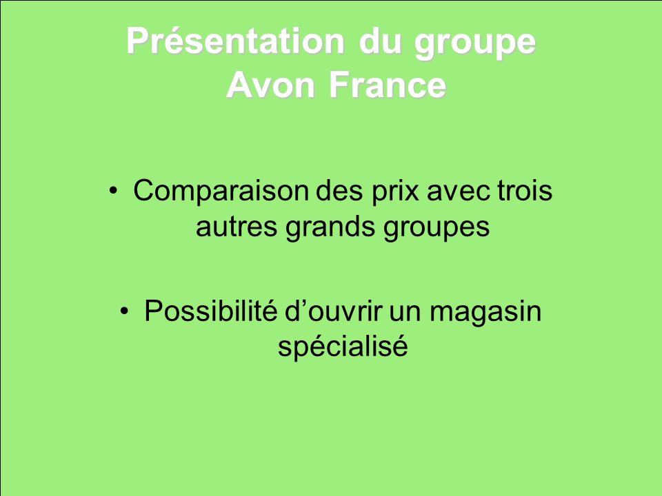 Présentation du groupe Avon France Comparaison des prix avec trois autres grands groupes Possibilité douvrir un magasin spécialisé