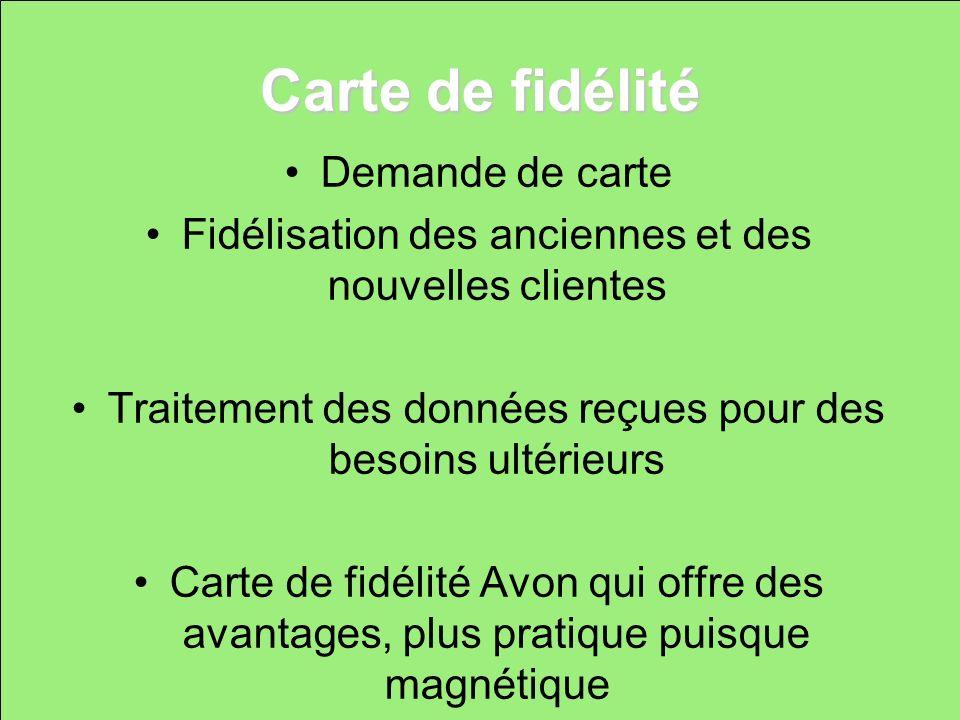Carte de fidélité Demande de carte Fidélisation des anciennes et des nouvelles clientes Traitement des données reçues pour des besoins ultérieurs Cart