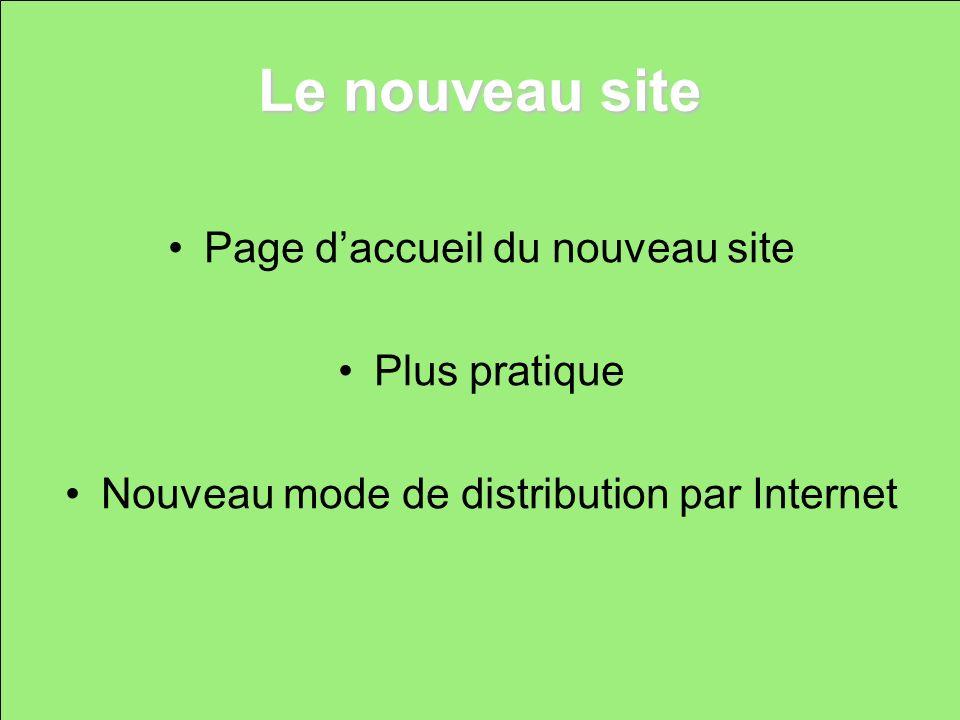 Le nouveau site Page daccueil du nouveau site Plus pratique Nouveau mode de distribution par Internet