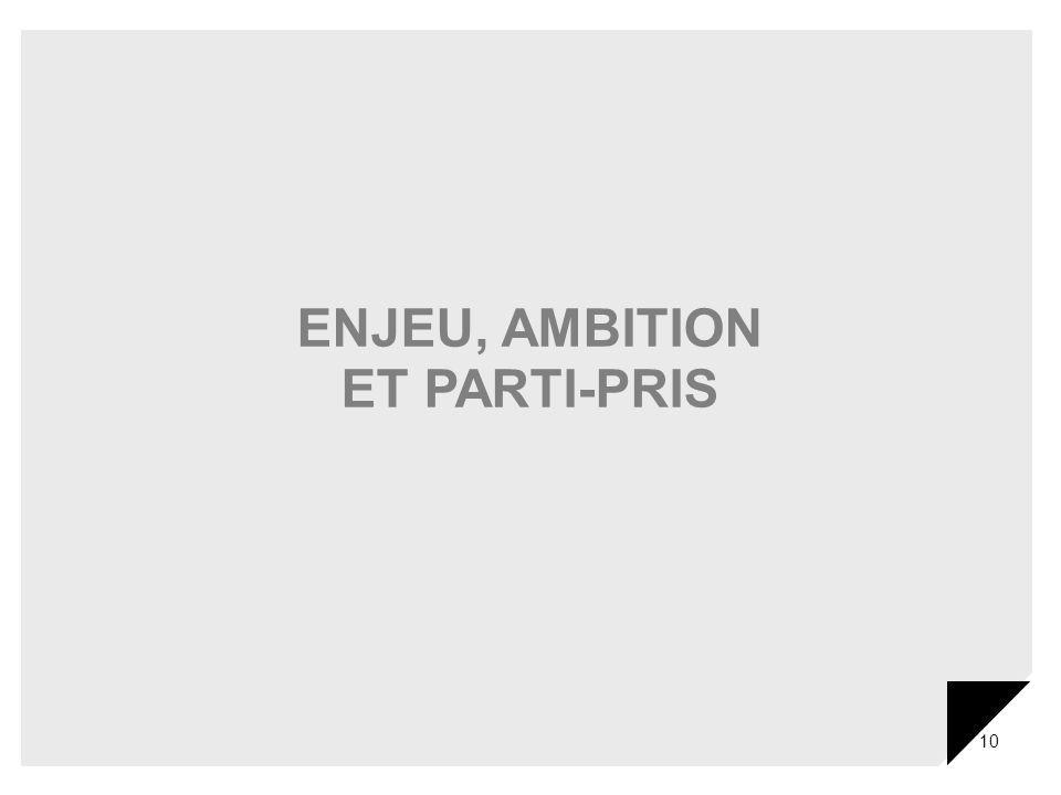 10 ENJEU, AMBITION ET PARTI-PRIS