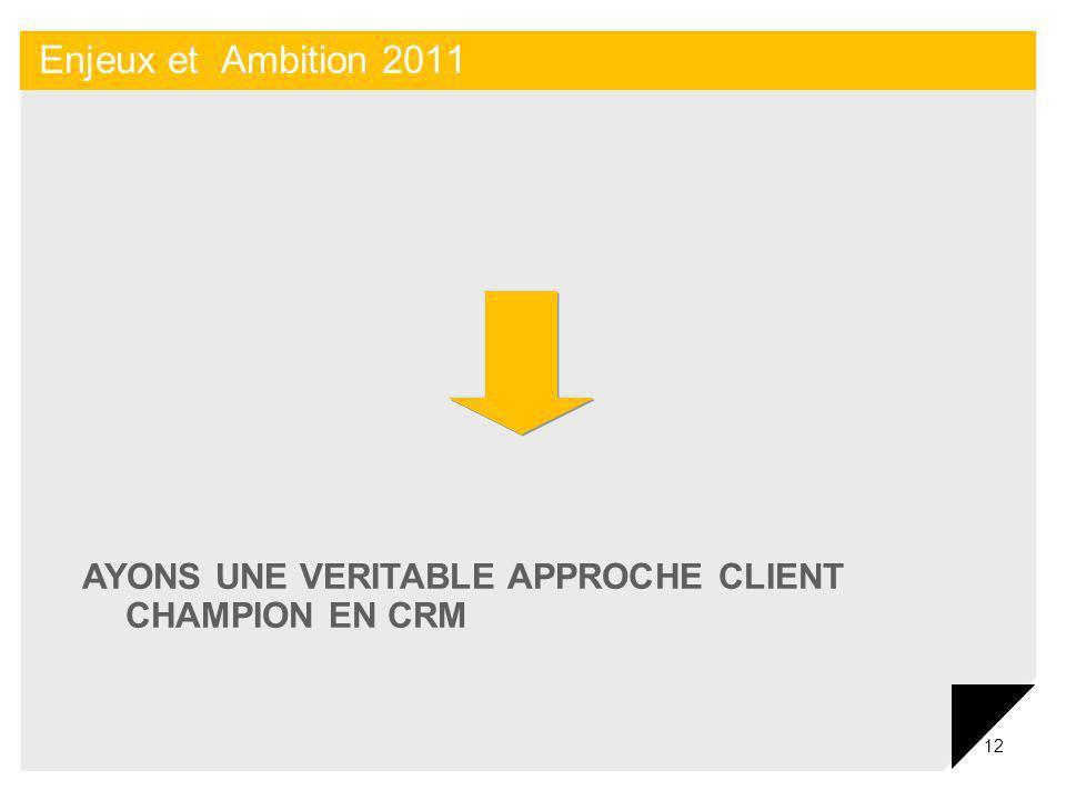 12 Enjeux et Ambition 2011 AYONS UNE VERITABLE APPROCHE CLIENT CHAMPION EN CRM