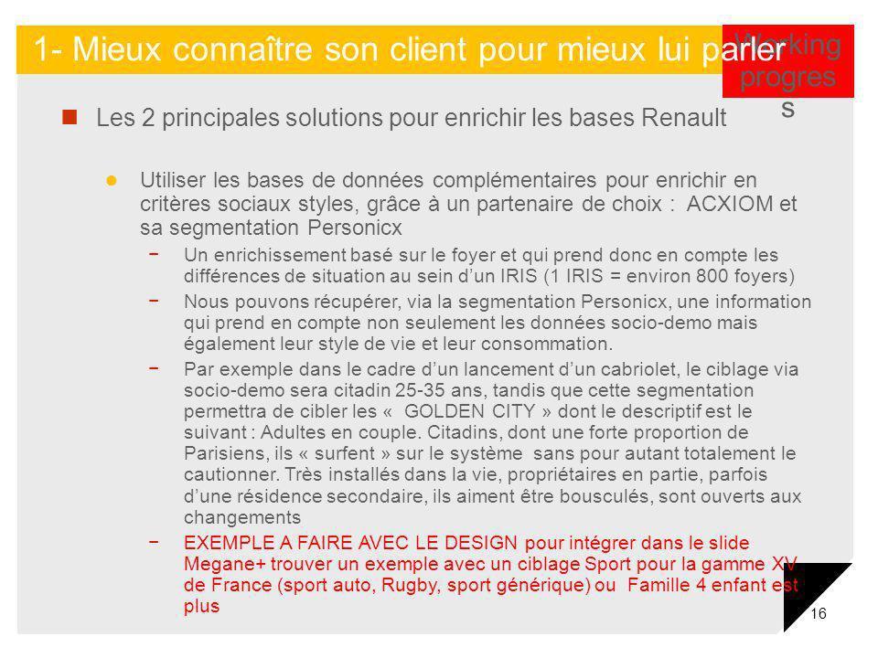 16 Les 2 principales solutions pour enrichir les bases Renault Utiliser les bases de données complémentaires pour enrichir en critères sociaux styles,