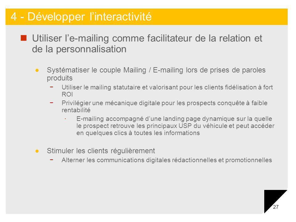 27 Utiliser le-mailing comme facilitateur de la relation et de la personnalisation Systématiser le couple Mailing / E-mailing lors de prises de parole