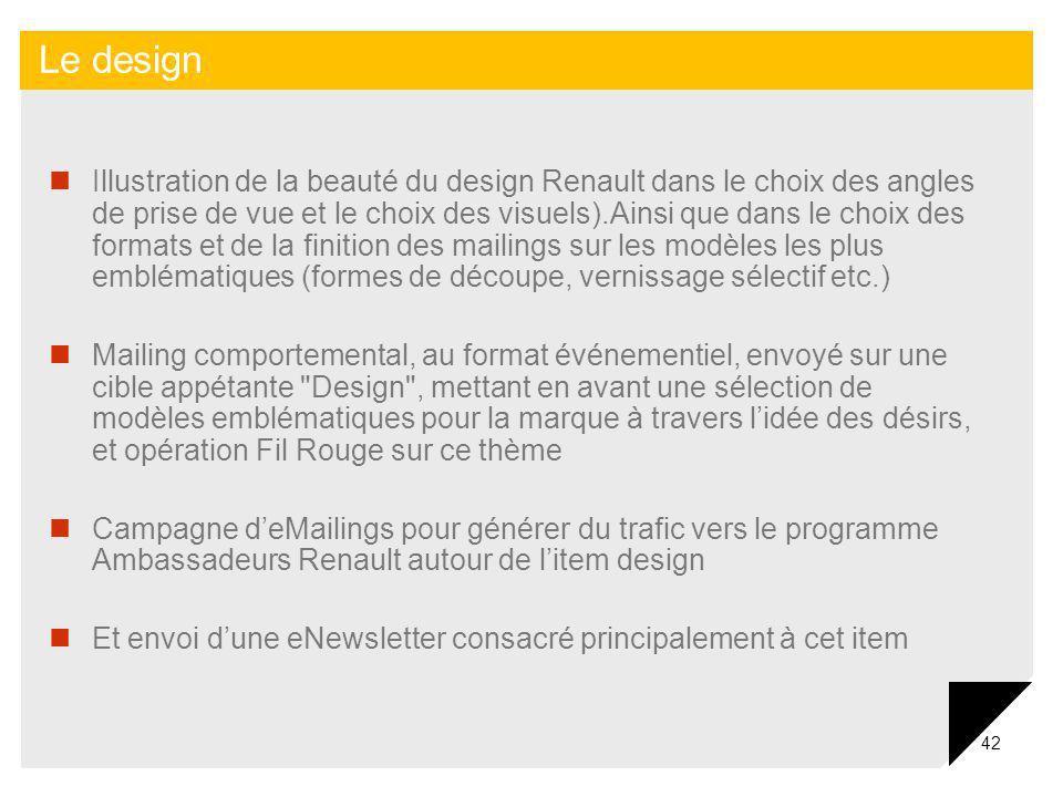 42 Illustration de la beauté du design Renault dans le choix des angles de prise de vue et le choix des visuels).Ainsi que dans le choix des formats e