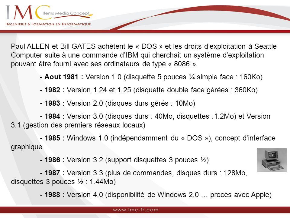 Paul ALLEN et Bill GATES achètent le « DOS » et les droits dexploitation à Seattle Computer suite à une commande dIBM qui cherchait un système dexploi