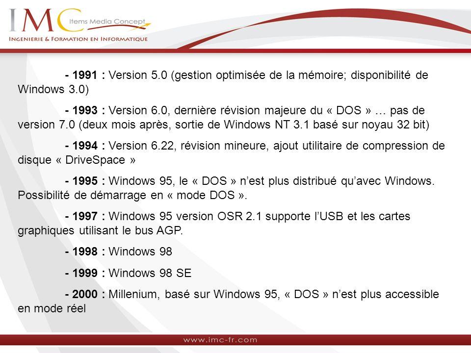 - 1991 : Version 5.0 (gestion optimisée de la mémoire; disponibilité de Windows 3.0) - 1993 : Version 6.0, dernière révision majeure du « DOS » … pas