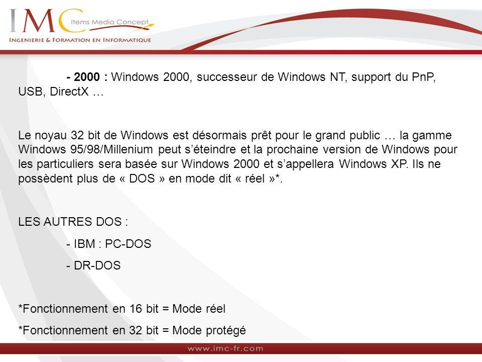 - 2000 : Windows 2000, successeur de Windows NT, support du PnP, USB, DirectX … Le noyau 32 bit de Windows est désormais prêt pour le grand public … l
