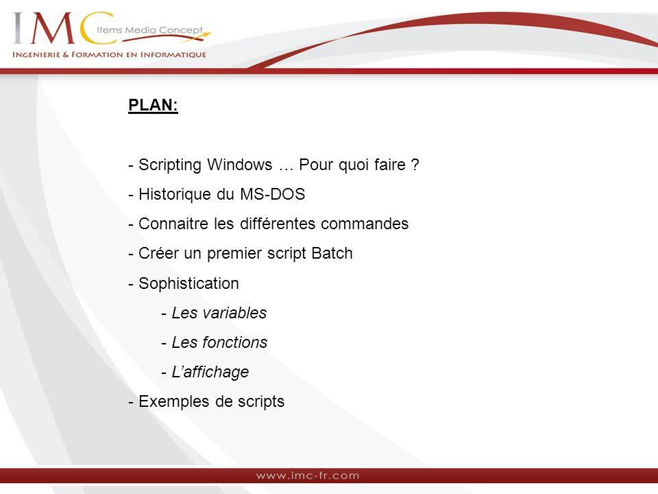 PLAN: - Scripting Windows … Pour quoi faire ? - Historique du MS-DOS - Connaitre les différentes commandes - Créer un premier script Batch - Sophistic