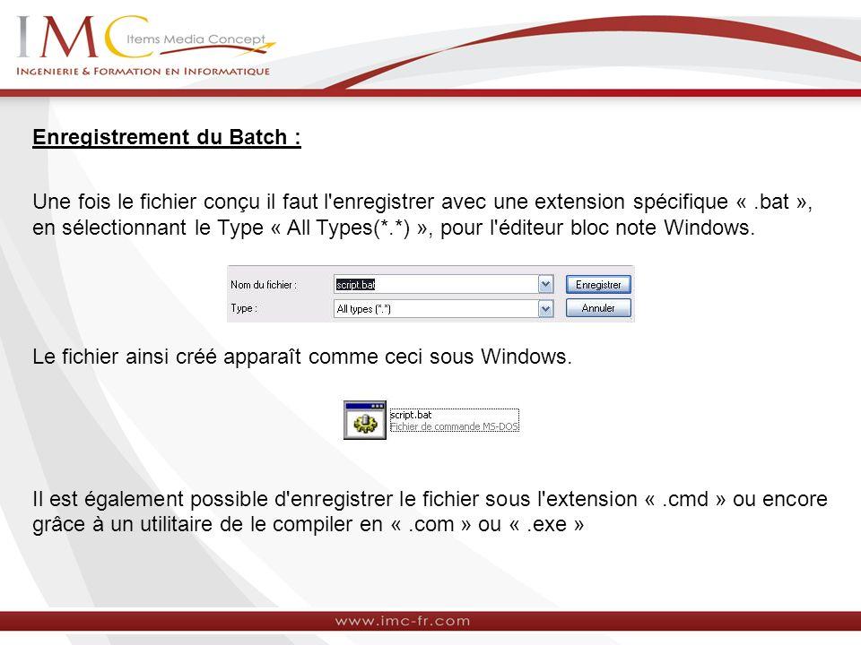 Enregistrement du Batch : Une fois le fichier conçu il faut l'enregistrer avec une extension spécifique «.bat », en sélectionnant le Type « All Types(