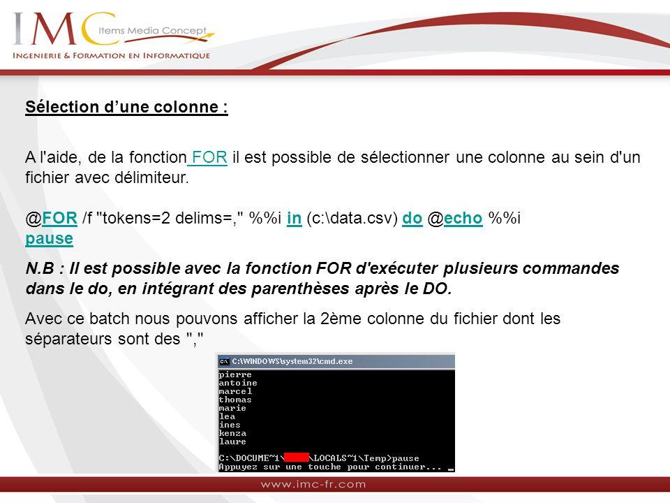 Sélection dune colonne : A l'aide, de la fonction FOR il est possible de sélectionner une colonne au sein d'un fichier avec délimiteur. FOR @FOR /f