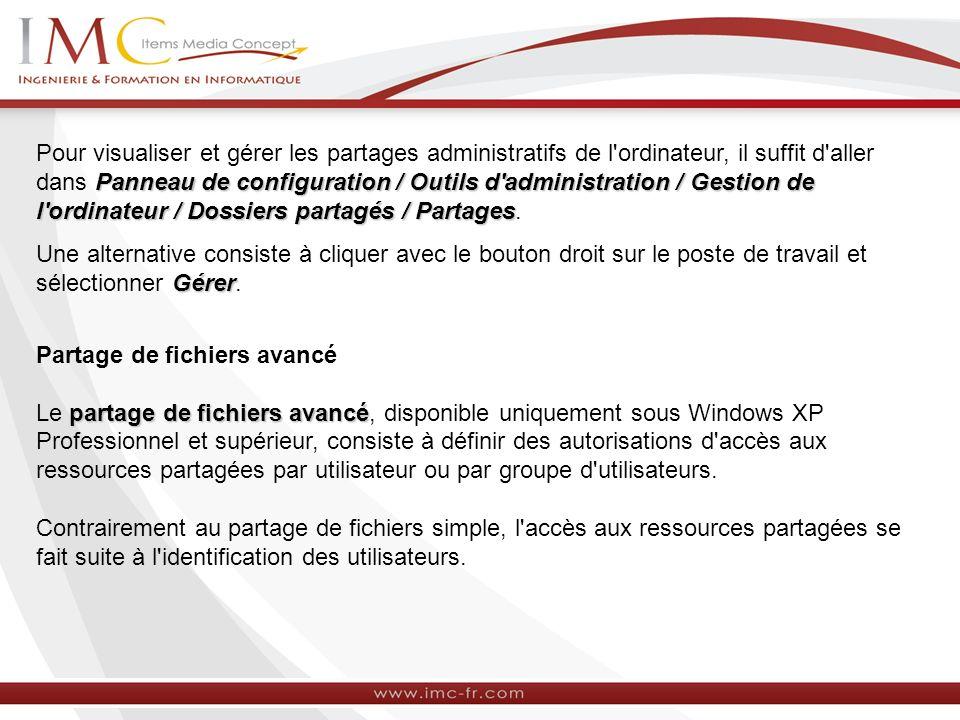 Panneau de configuration / Outils d'administration / Gestion de l'ordinateur / Dossiers partagés / Partages Pour visualiser et gérer les partages admi