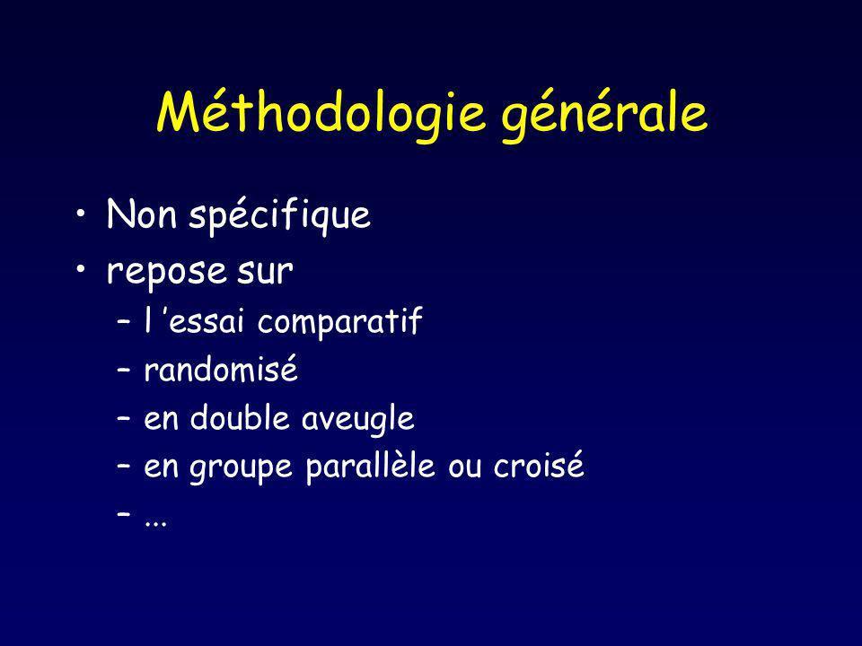 Méthodologie générale Non spécifique repose sur –l essai comparatif –randomisé –en double aveugle –en groupe parallèle ou croisé –...