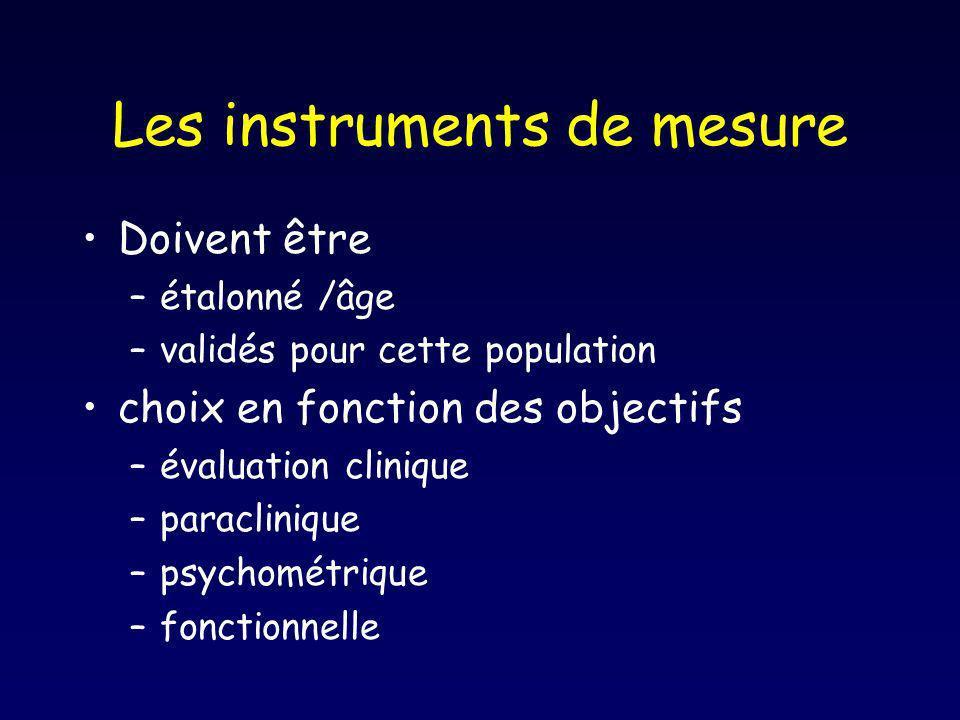 Les instruments de mesure Doivent être –étalonné /âge –validés pour cette population choix en fonction des objectifs –évaluation clinique –paracliniqu