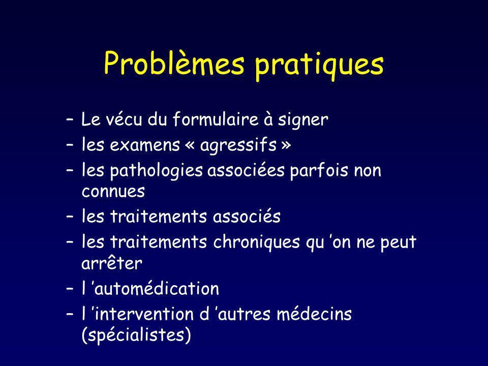 Problèmes pratiques –Le vécu du formulaire à signer –les examens « agressifs » –les pathologies associées parfois non connues –les traitements associé