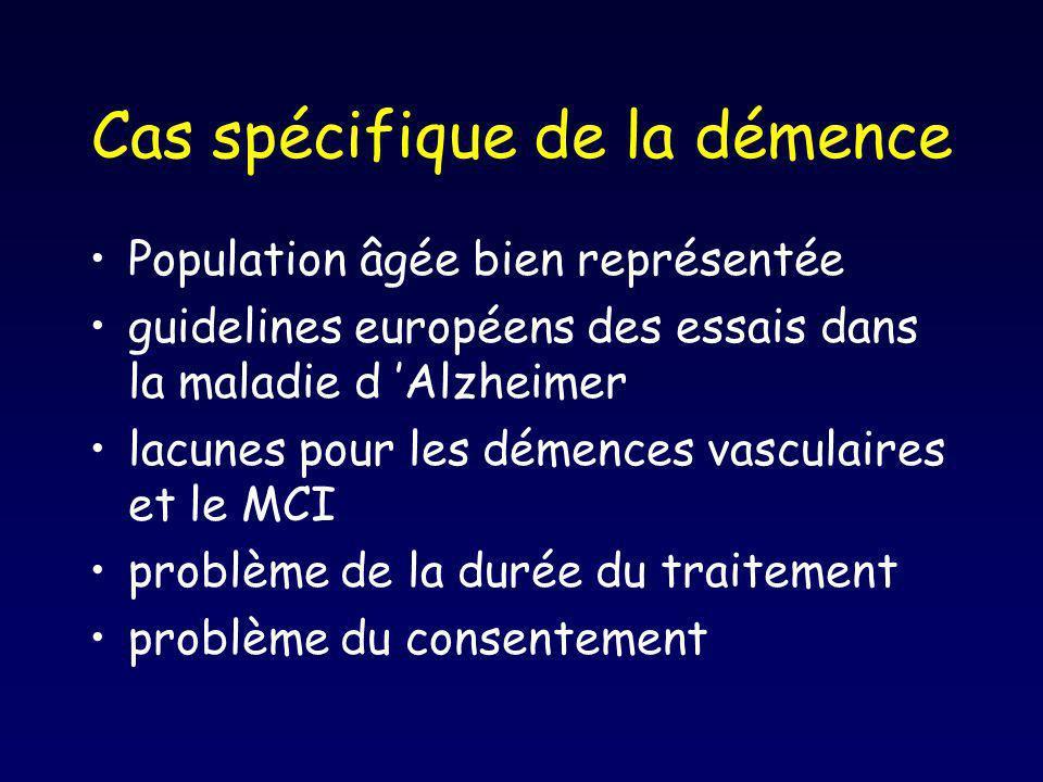 Cas spécifique de la démence Population âgée bien représentée guidelines européens des essais dans la maladie d Alzheimer lacunes pour les démences va