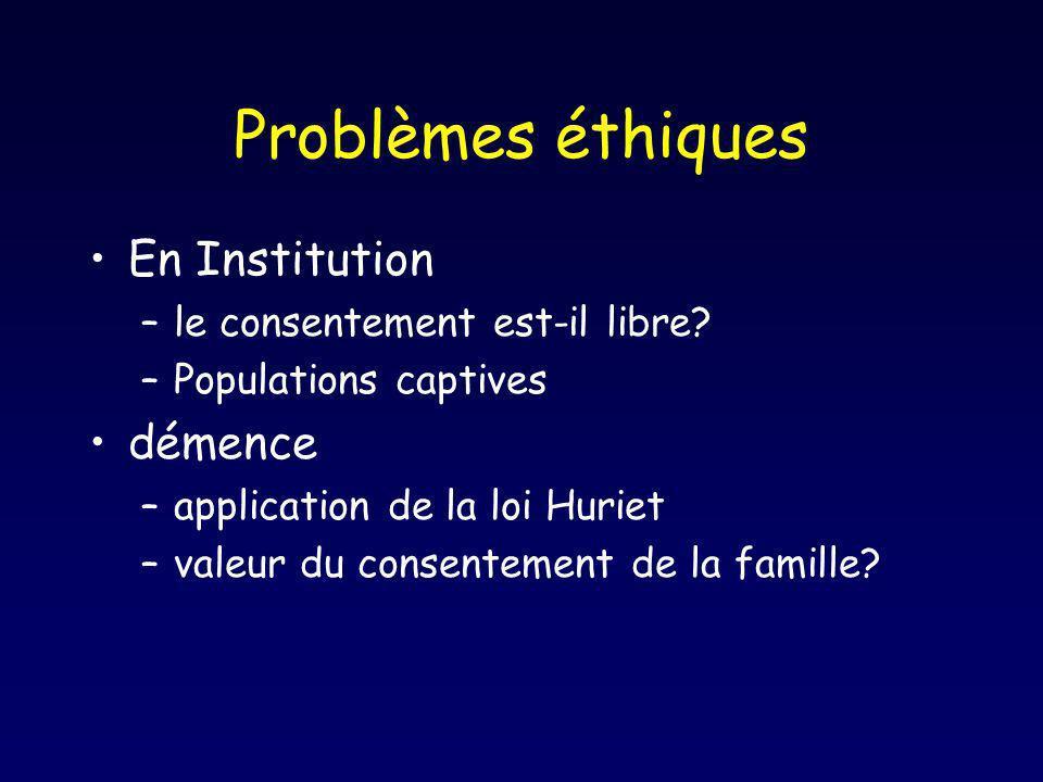 Problèmes éthiques En Institution –le consentement est-il libre? –Populations captives démence –application de la loi Huriet –valeur du consentement d