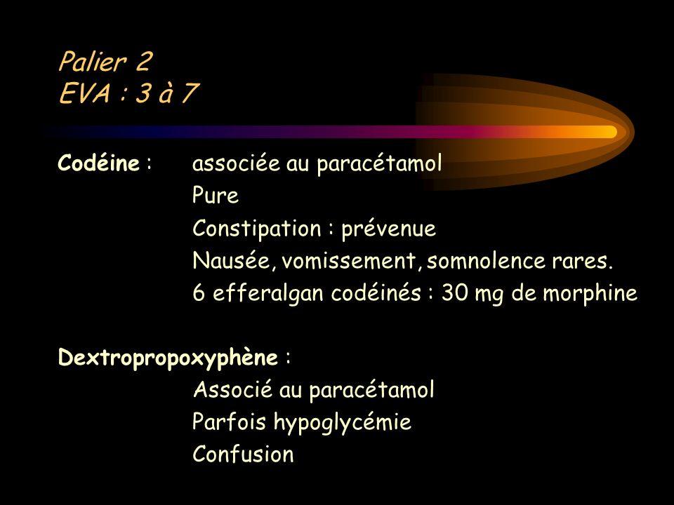 Palier 2 EVA : 3 à 7 Codéine : associée au paracétamol Pure Constipation : prévenue Nausée, vomissement, somnolence rares. 6 efferalgan codéinés : 30