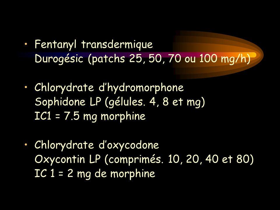 Fentanyl transdermique Durogésic (patchs 25, 50, 70 ou 100 mg/h) Chlorydrate dhydromorphone Sophidone LP (gélules. 4, 8 et mg) IC1 = 7.5 mg morphine C