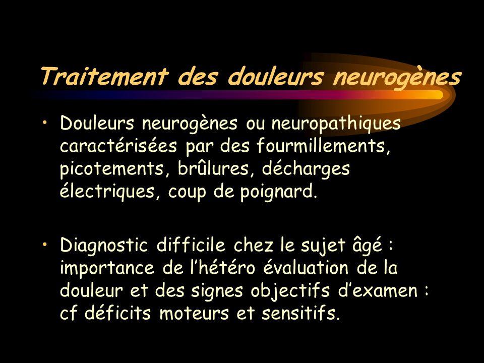 Traitement des douleurs neurogènes Douleurs neurogènes ou neuropathiques caractérisées par des fourmillements, picotements, brûlures, décharges électr
